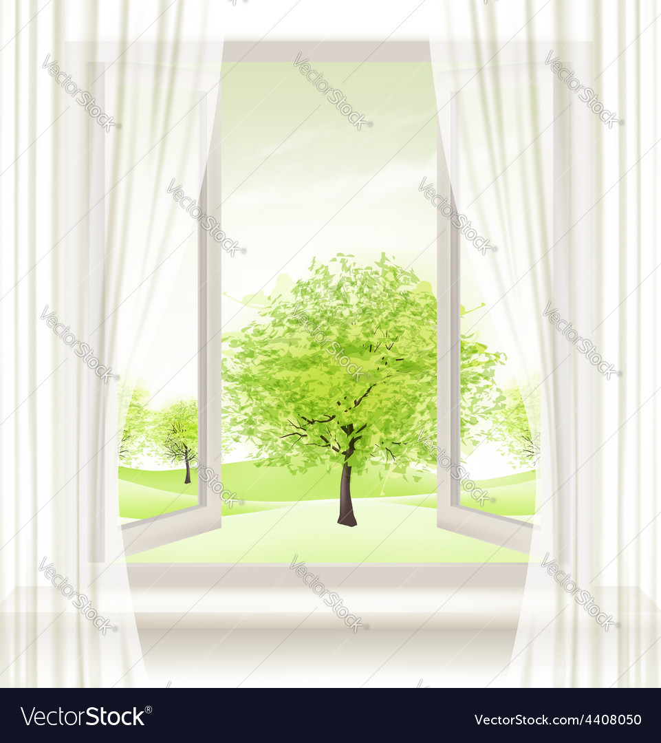Background with an open window and green trees vector