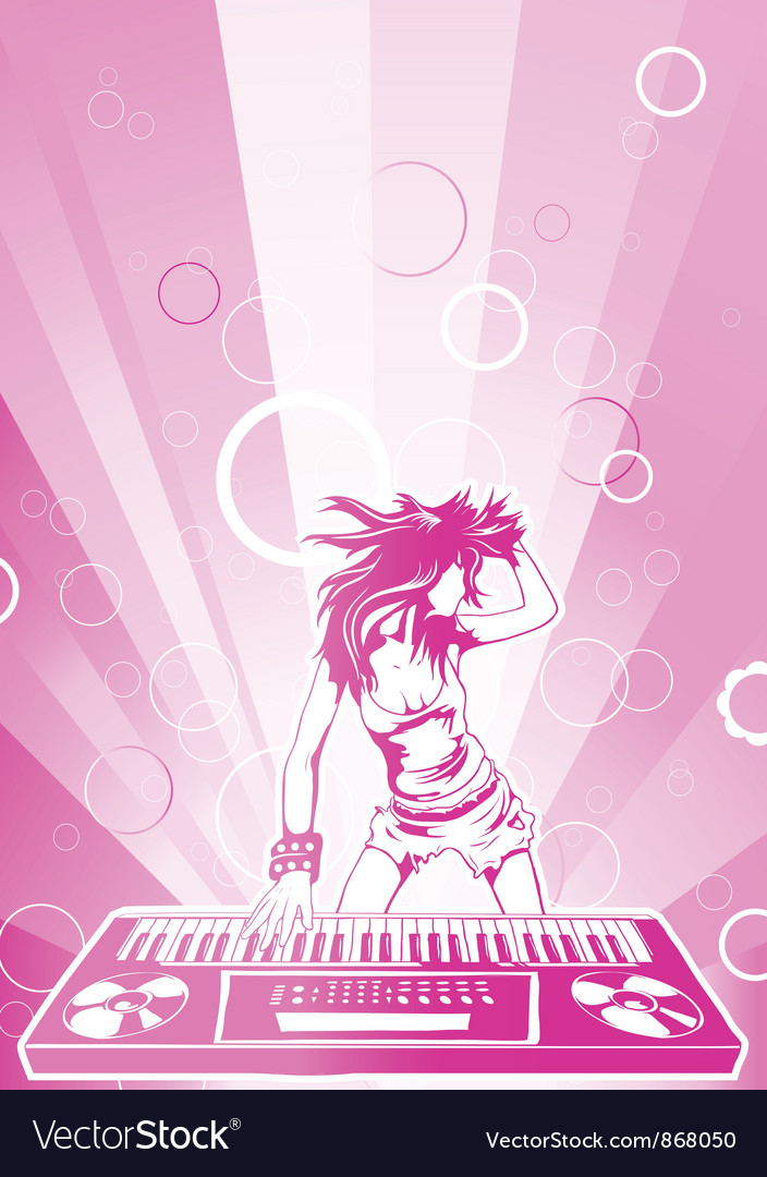 Concert poster with dj girl vector | Price: 1 Credit (USD $1)