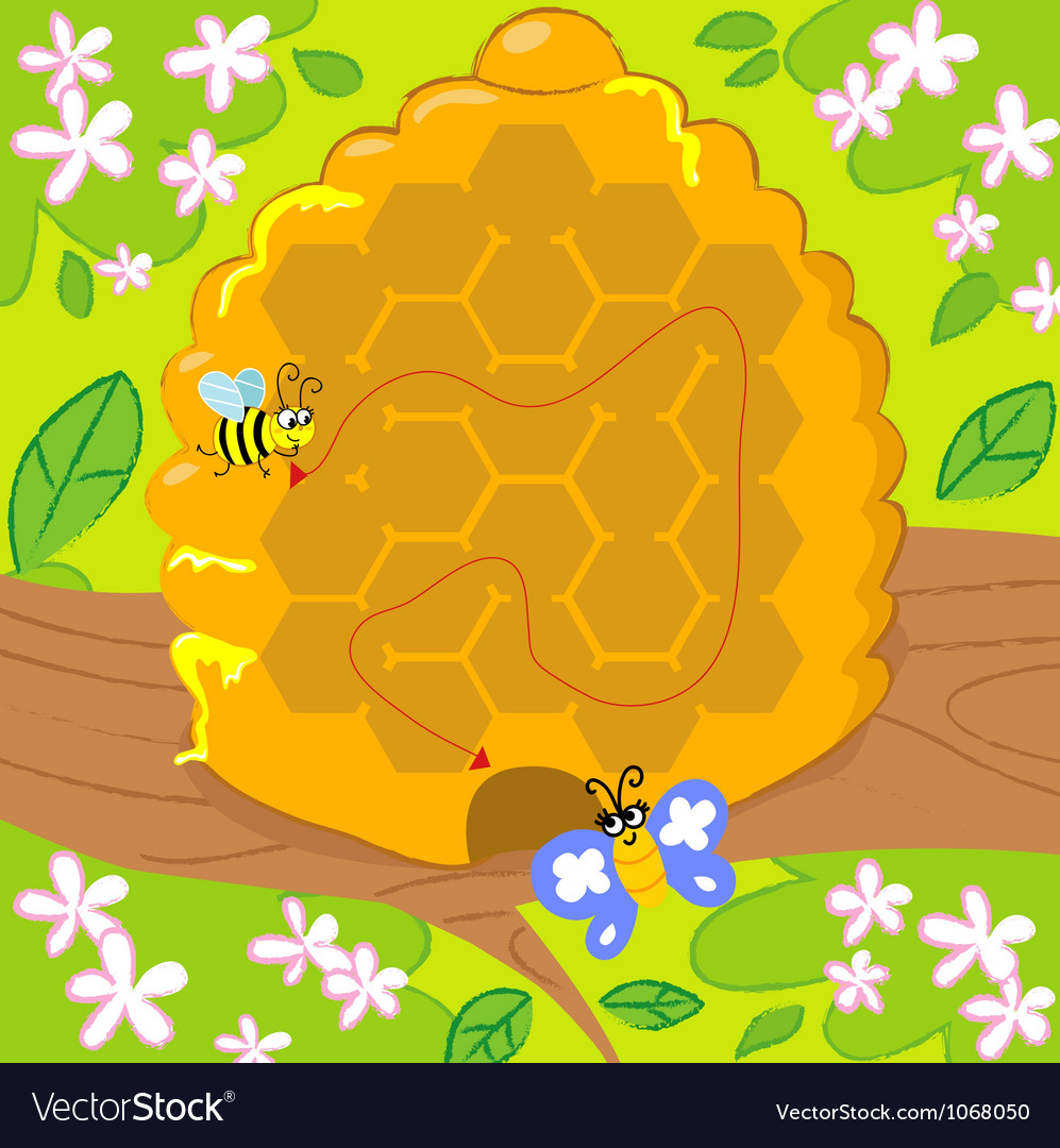 Maze game with bee and butterfly vector | Price: 1 Credit (USD $1)