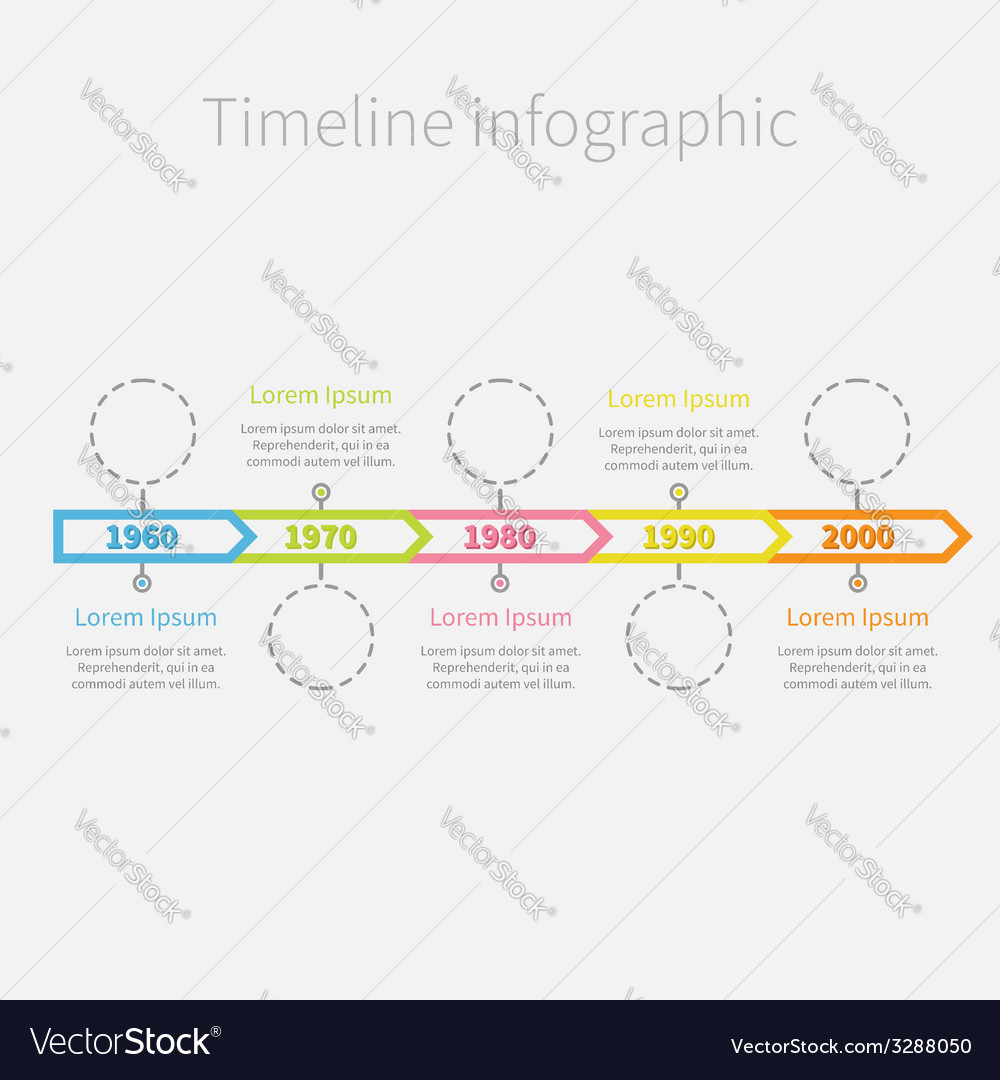 Timeline infographic ribbon arrows dashed circles vector   Price: 1 Credit (USD $1)