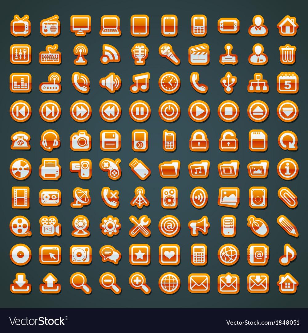 100 orange icons vector | Price: 1 Credit (USD $1)