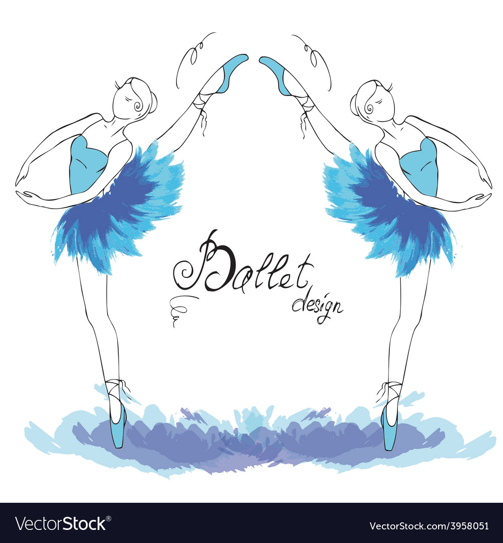Ballet dancer drawing in watercolor style vector | Price: 1 Credit (USD $1)
