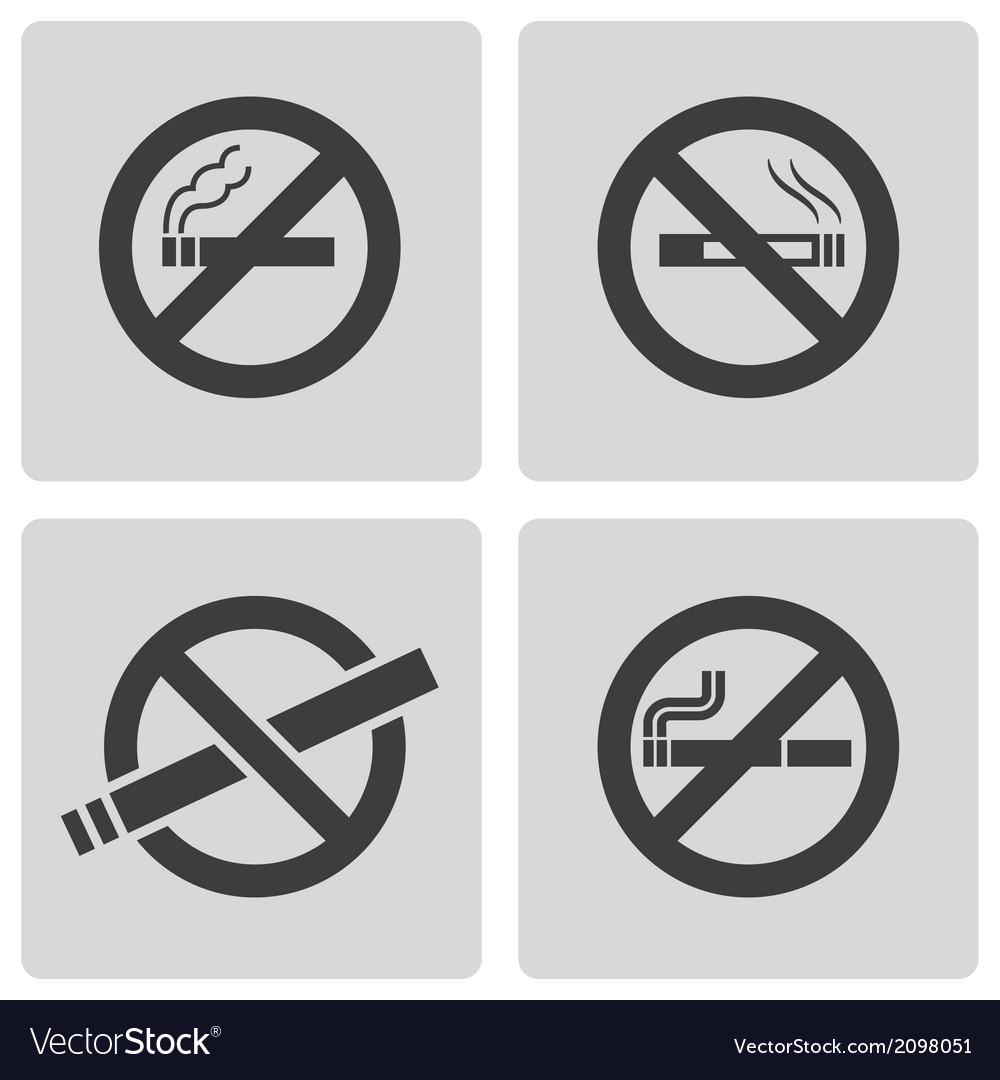 Black no smoking icons set vector | Price: 1 Credit (USD $1)