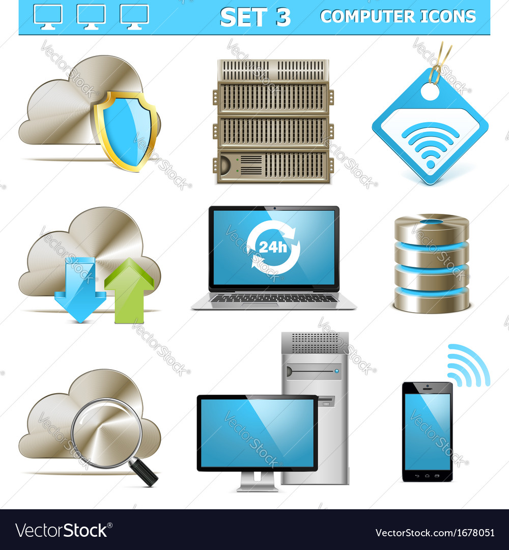 Computer icons set 3 vector