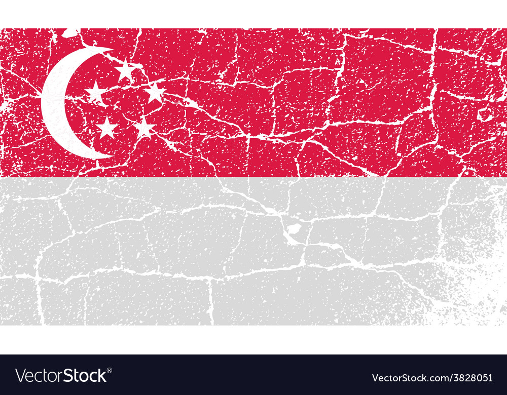 Flag republic of singapore with old texture vector   Price: 1 Credit (USD $1)