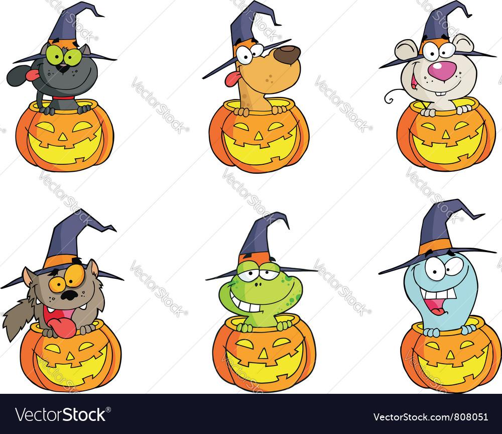 Halloween characters set vector   Price: 1 Credit (USD $1)