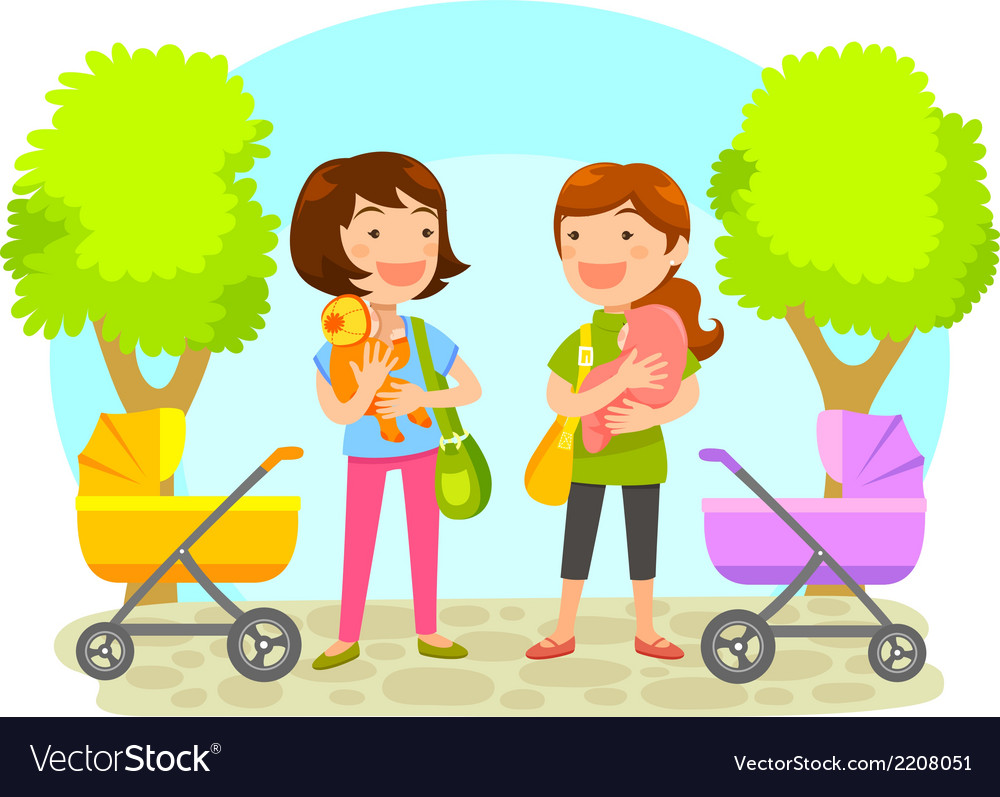 Mothers with babies vector | Price: 1 Credit (USD $1)