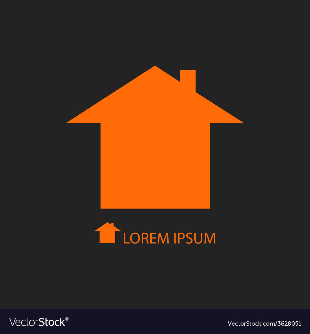 Orange house logo on black background vector | Price: 1 Credit (USD $1)