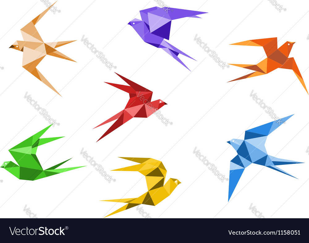 Origami swallows vector | Price: 1 Credit (USD $1)