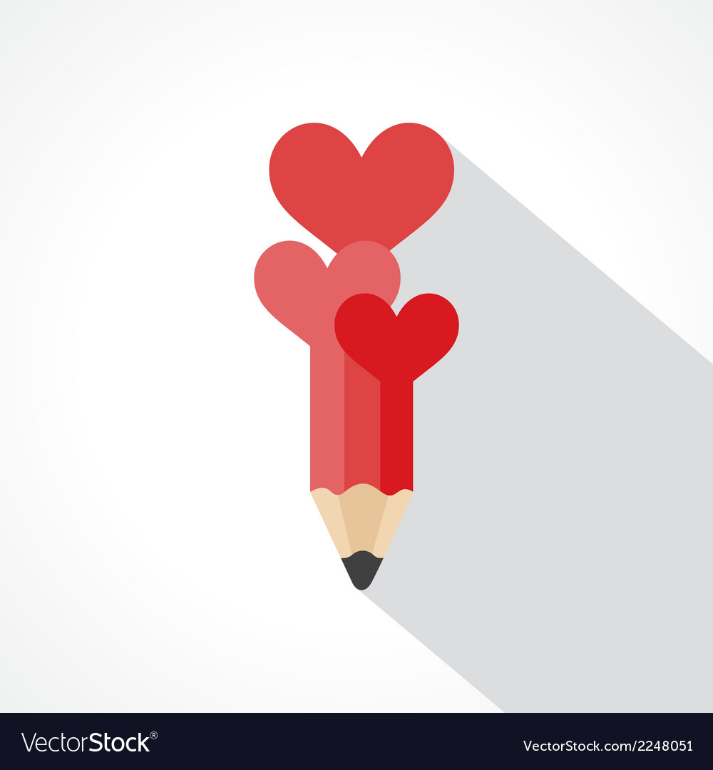 Pencil with hearts vector | Price: 1 Credit (USD $1)