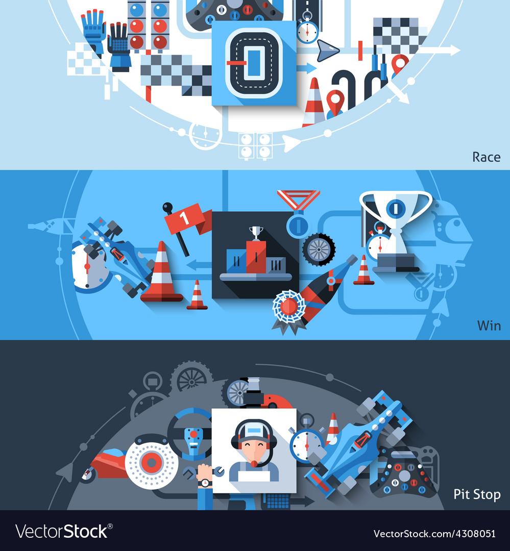 Racing banner set vector | Price: 1 Credit (USD $1)