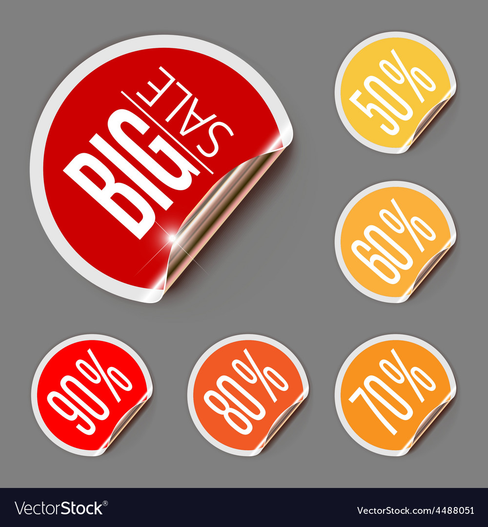 Set of discount labels with curled gold edge vector | Price: 1 Credit (USD $1)