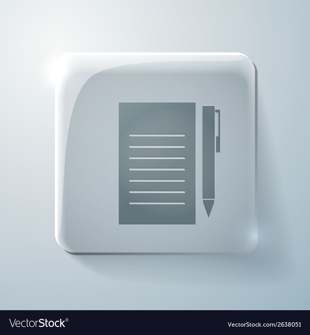 Sheet of paper glass square icon with highlights vector | Price: 1 Credit (USD $1)