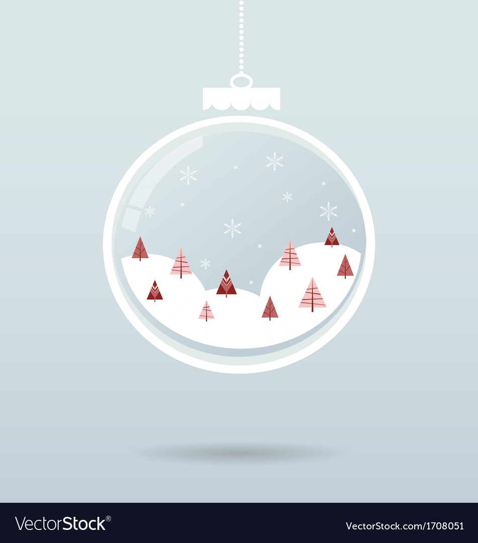 Snow ball with snowflakes and trees inside vector | Price: 1 Credit (USD $1)