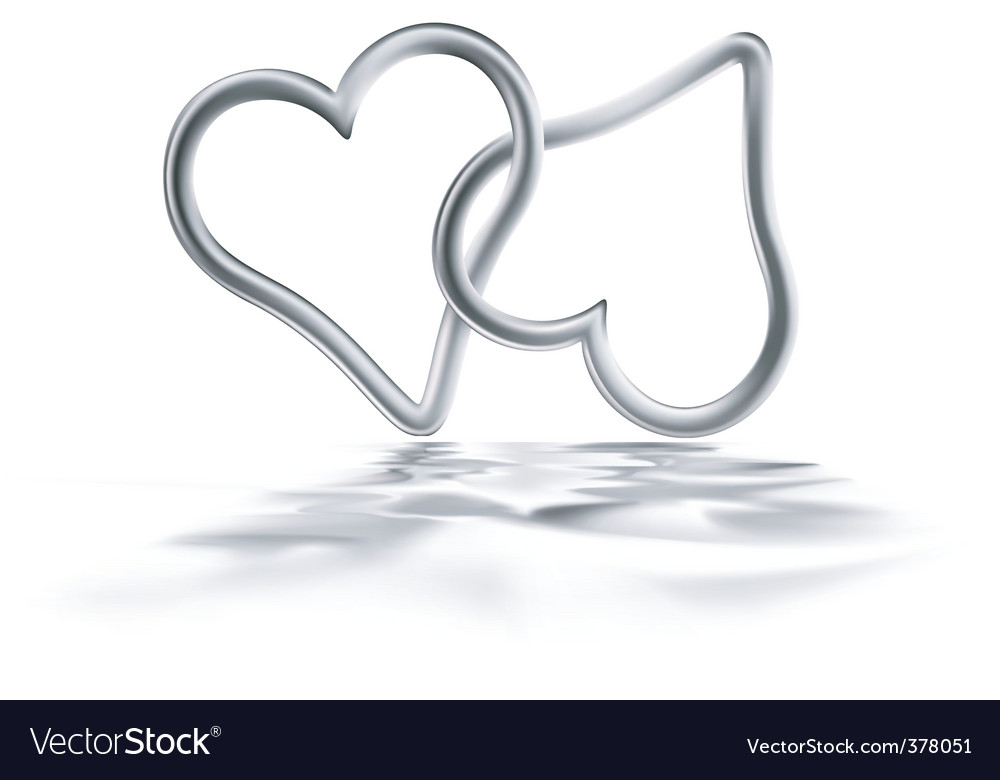 Two silver hearts vector | Price: 1 Credit (USD $1)