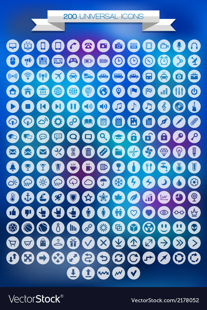 200 universal icons set vector | Price: 1 Credit (USD $1)