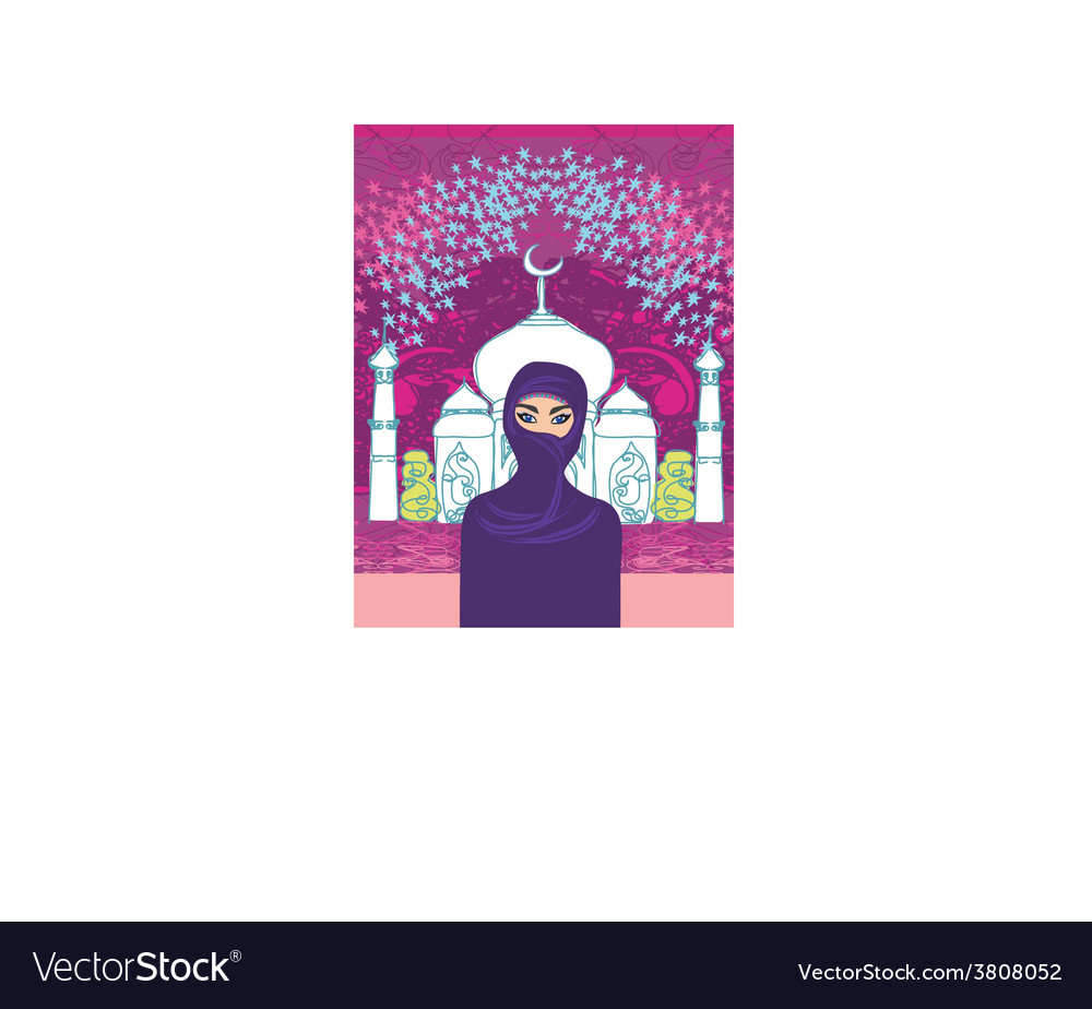 A young beautiful muslim women on seamles vector | Price: 1 Credit (USD $1)