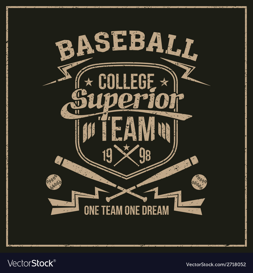 College baseball team emblem vector | Price: 1 Credit (USD $1)