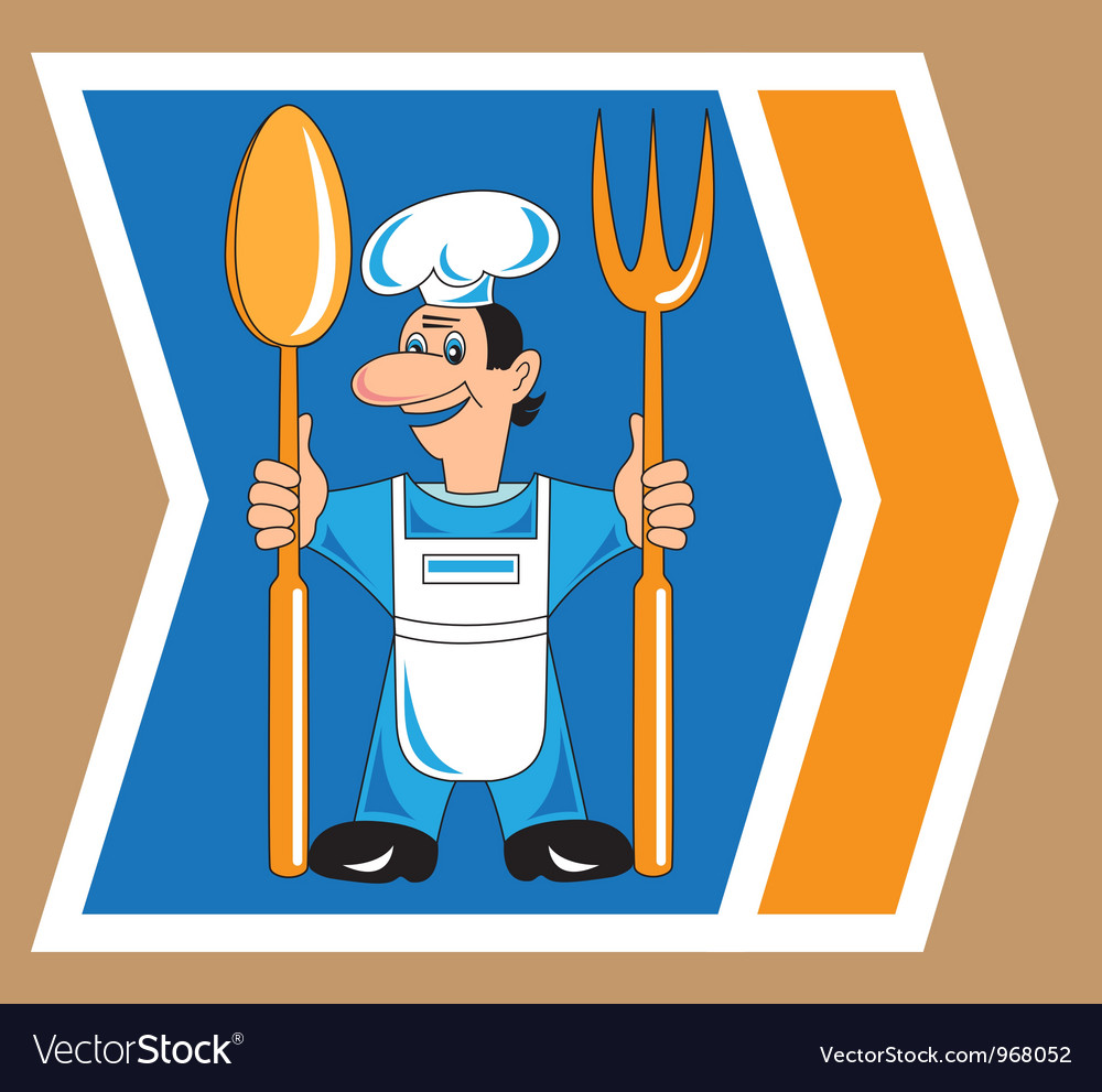Cook with spoon and fork vector | Price: 1 Credit (USD $1)