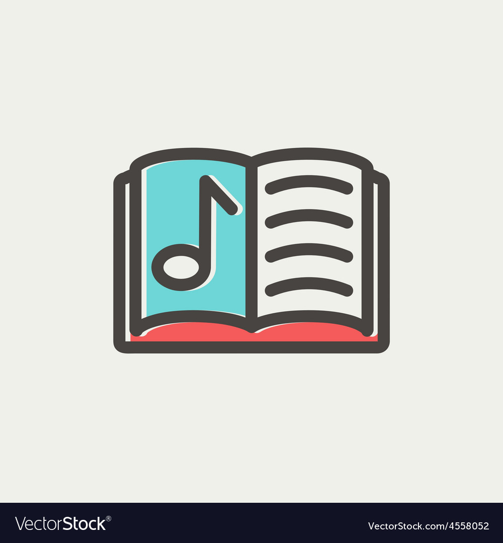 Musical book thin line icon vector | Price: 1 Credit (USD $1)