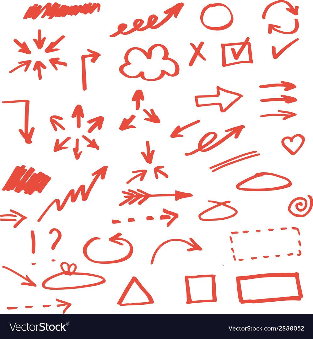Set of hand drawn arrows vector   Price: 1 Credit (USD $1)