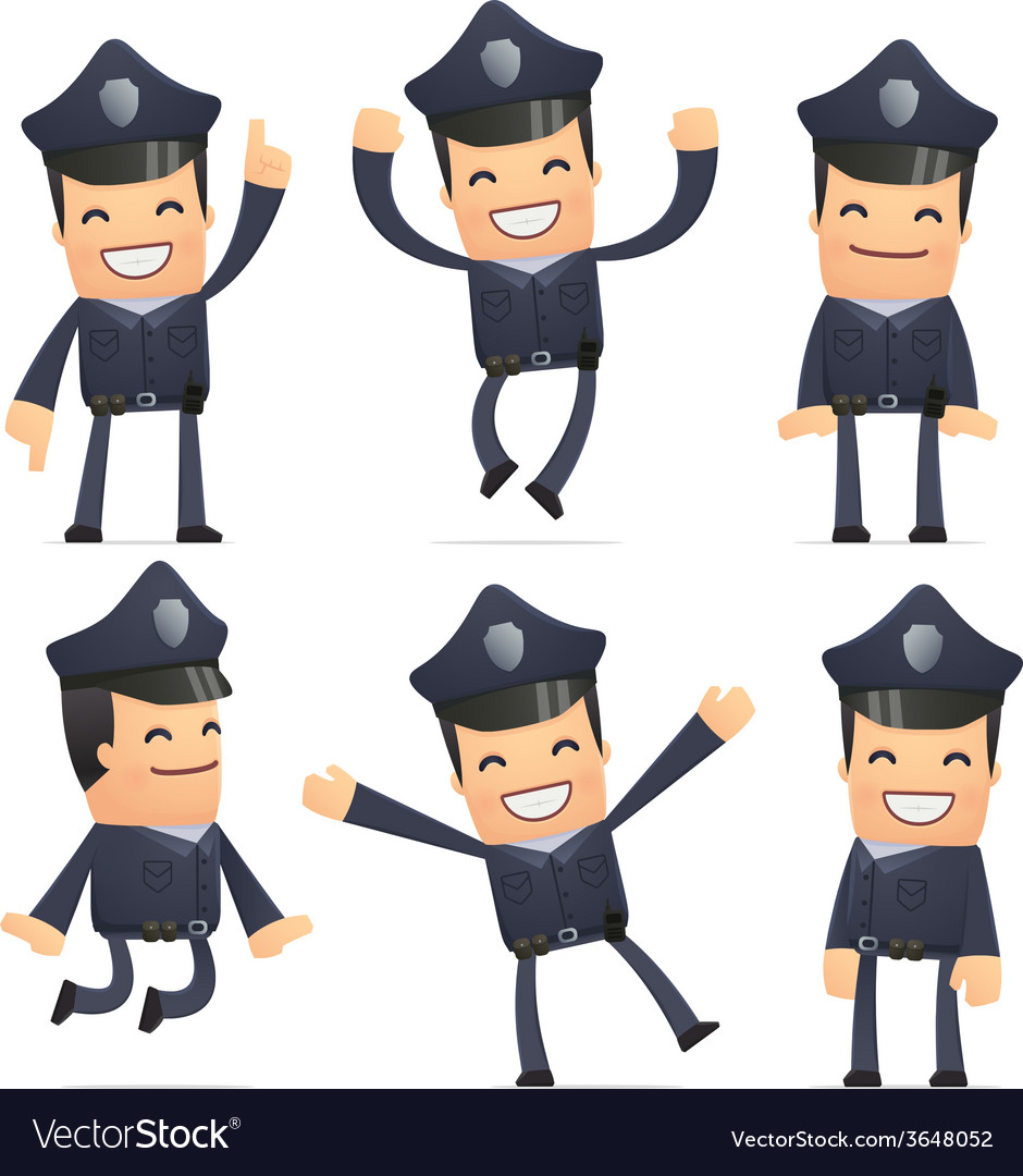 Set of policeman character in different poses vector | Price: 1 Credit (USD $1)
