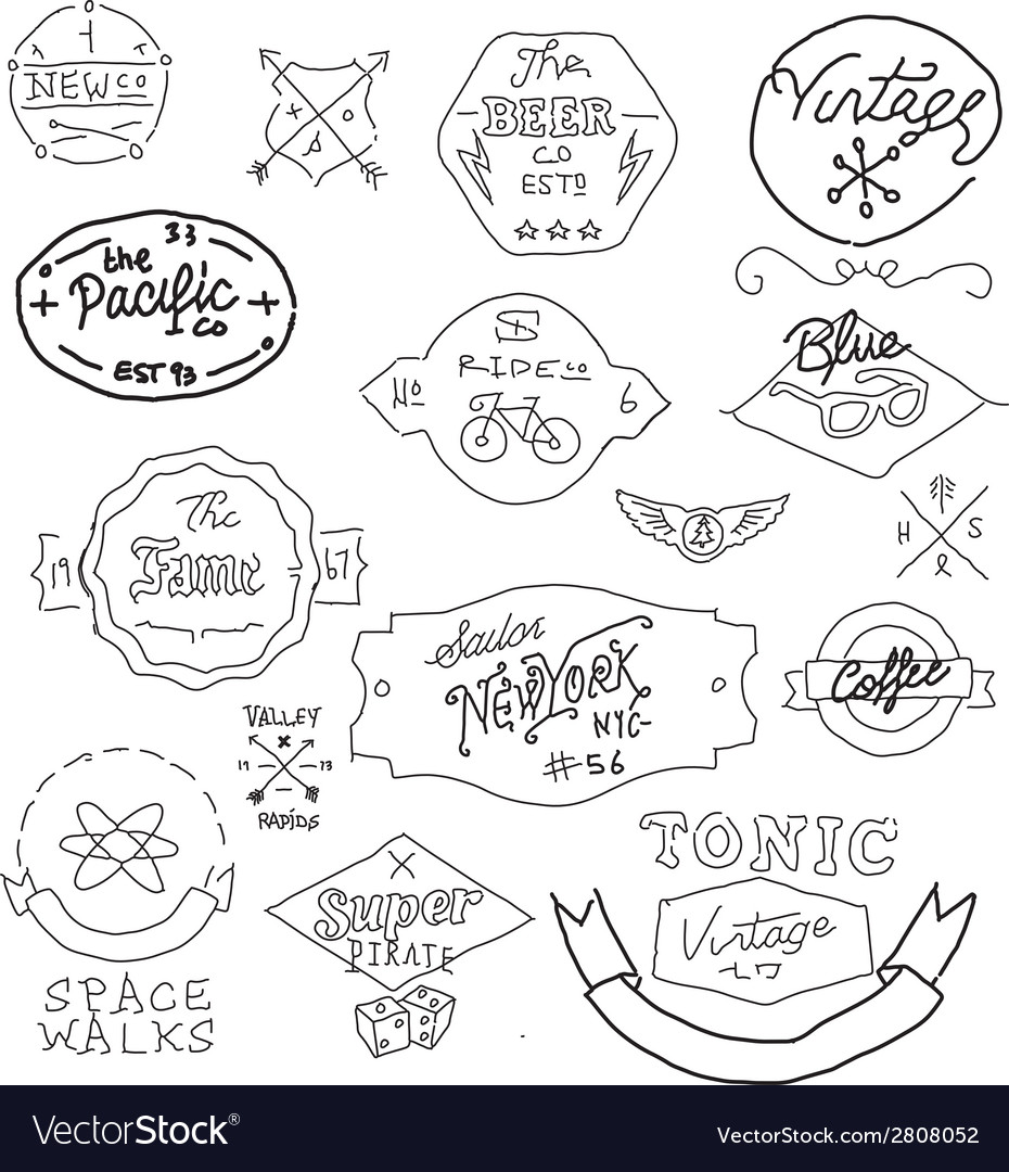 Vintage hand drawn logos vector | Price: 1 Credit (USD $1)