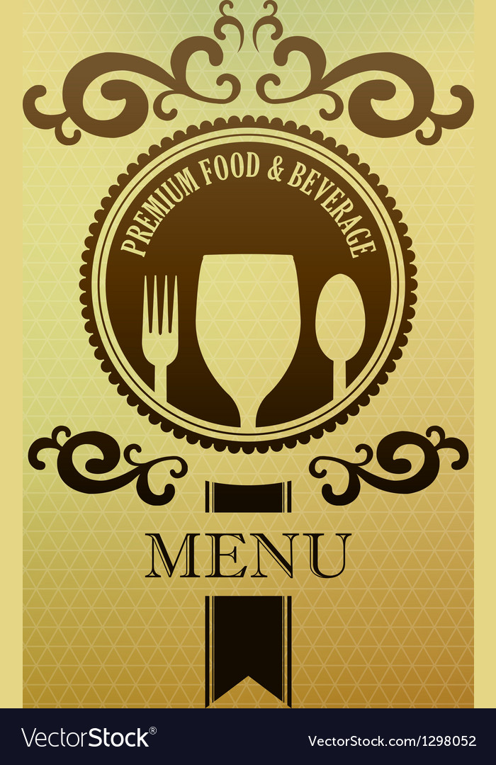 Vintage label menu food and beverage cover vector | Price: 1 Credit (USD $1)