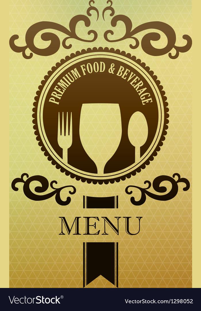 Vintage label menu food and beverage cover vector | Price: 1 Credit (USD $1)