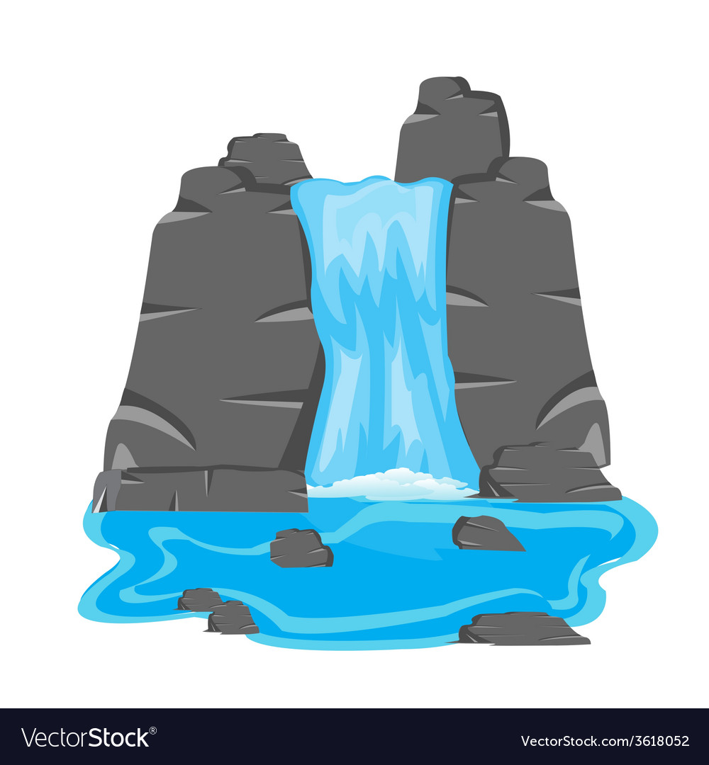 Waterfall amongst stone vector   Price: 1 Credit (USD $1)