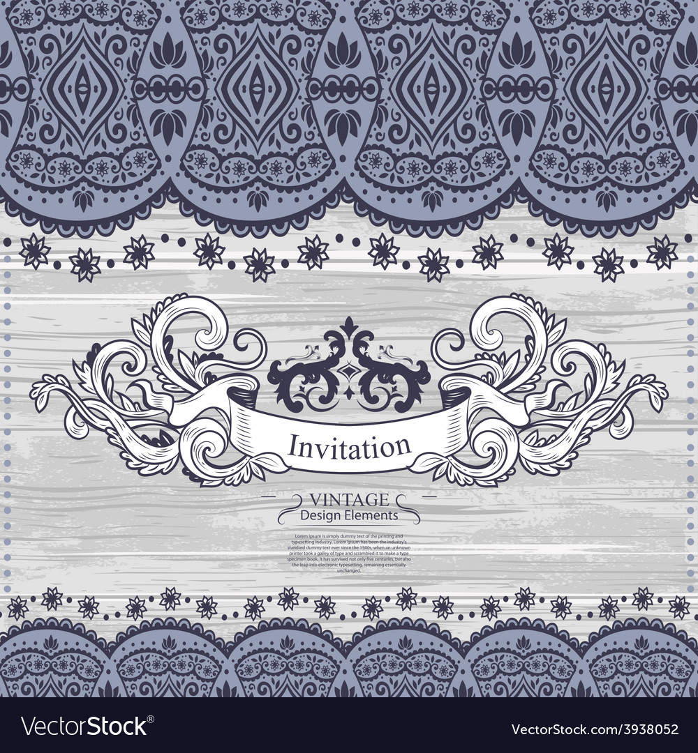 Wedding invitation with lace decoration vector | Price: 1 Credit (USD $1)