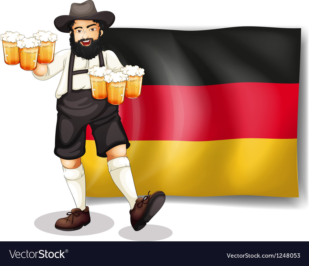 A man holding a beer in front of a flag vector | Price: 1 Credit (USD $1)