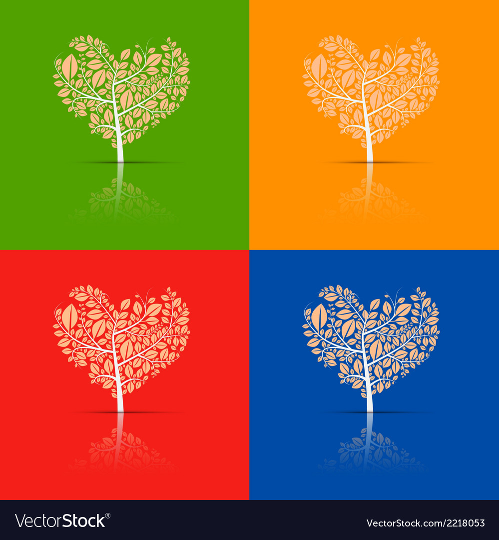 Abstract heart-shaped tree set vector | Price: 1 Credit (USD $1)