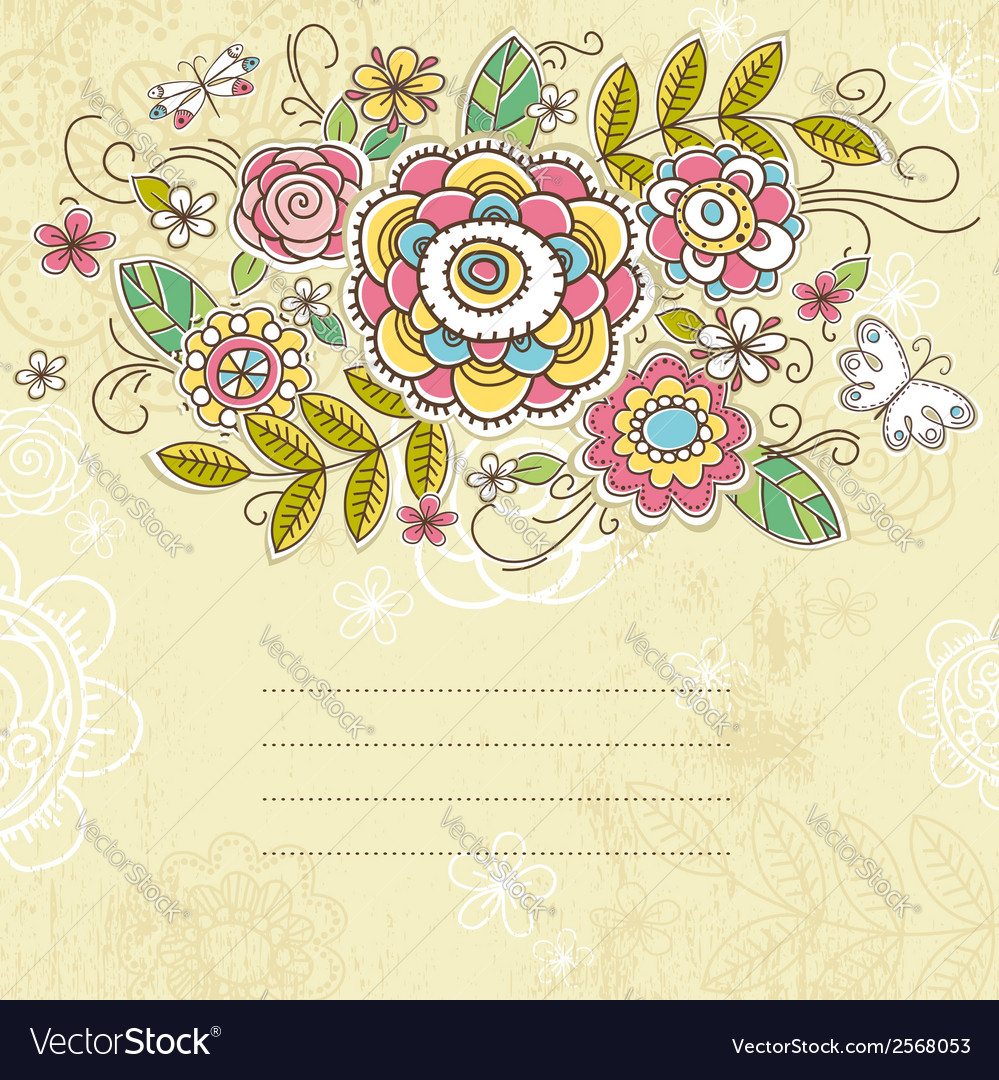 Background of hand draw flowers vector | Price: 1 Credit (USD $1)
