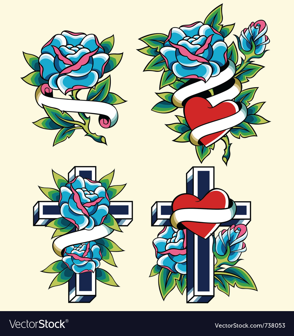 Cross and rose icon set vector | Price: 3 Credit (USD $3)