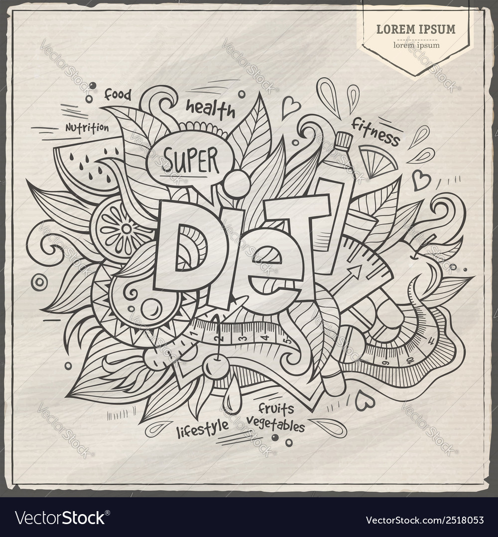 Diet hand lettering and doodles elements vector | Price: 1 Credit (USD $1)