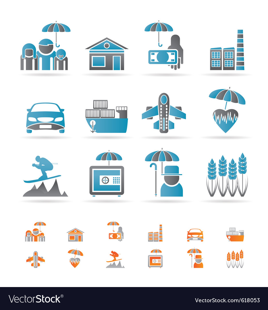 Different kind of insurance and risk icons vector | Price: 1 Credit (USD $1)