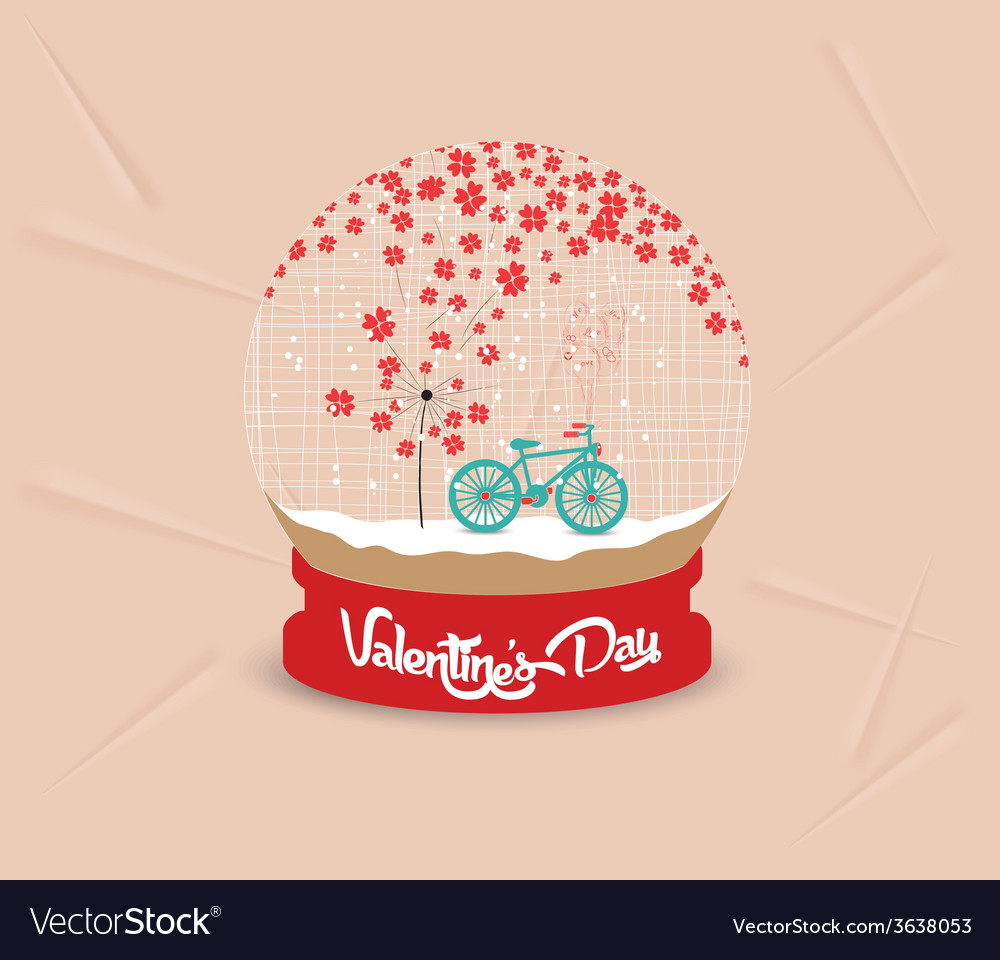Happy valentines day with romantic dandelion heart vector | Price: 1 Credit (USD $1)