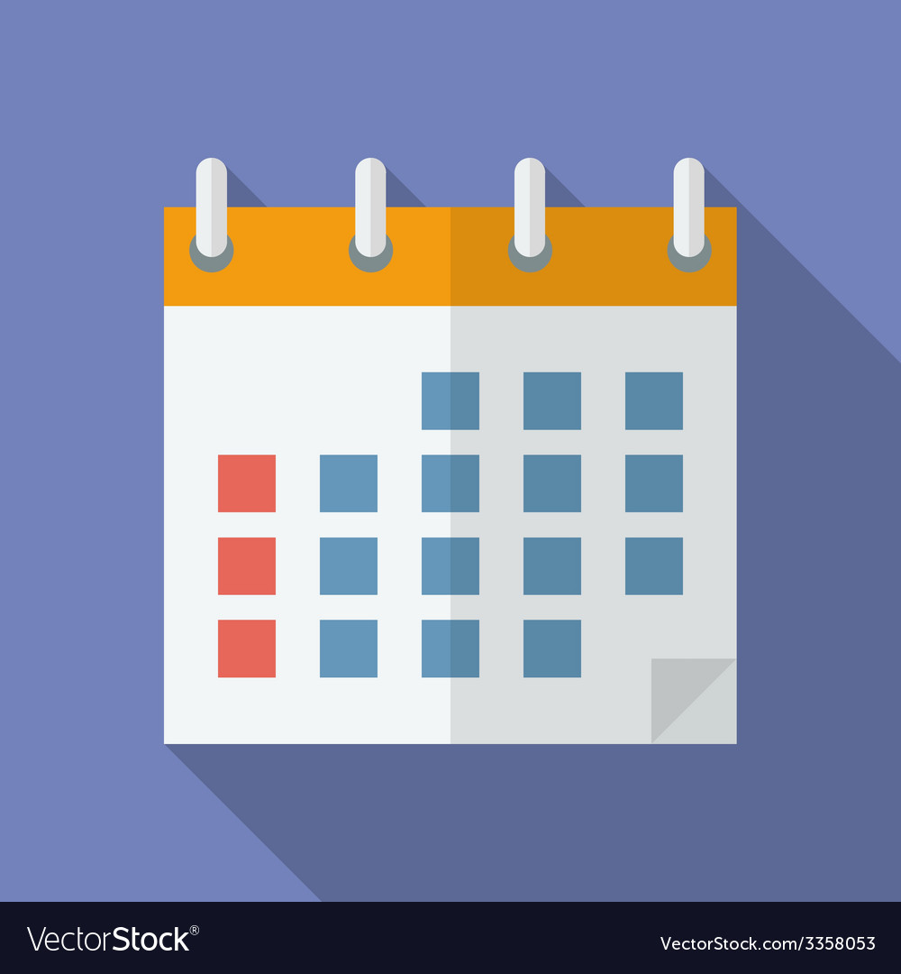Icon of calendar flat style vector | Price: 1 Credit (USD $1)