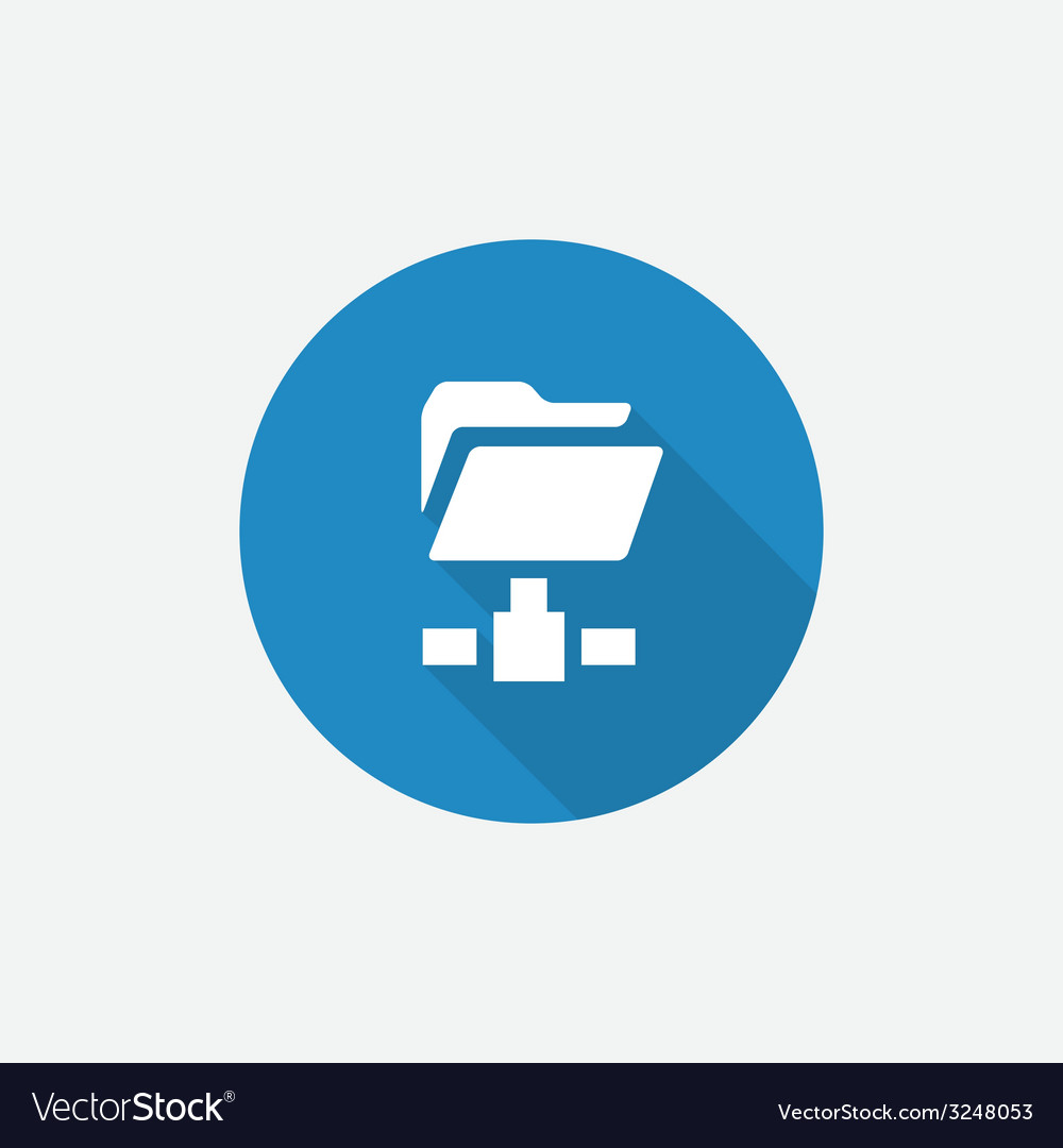 Net folder flat blue simple icon with long shadow vector | Price: 1 Credit (USD $1)