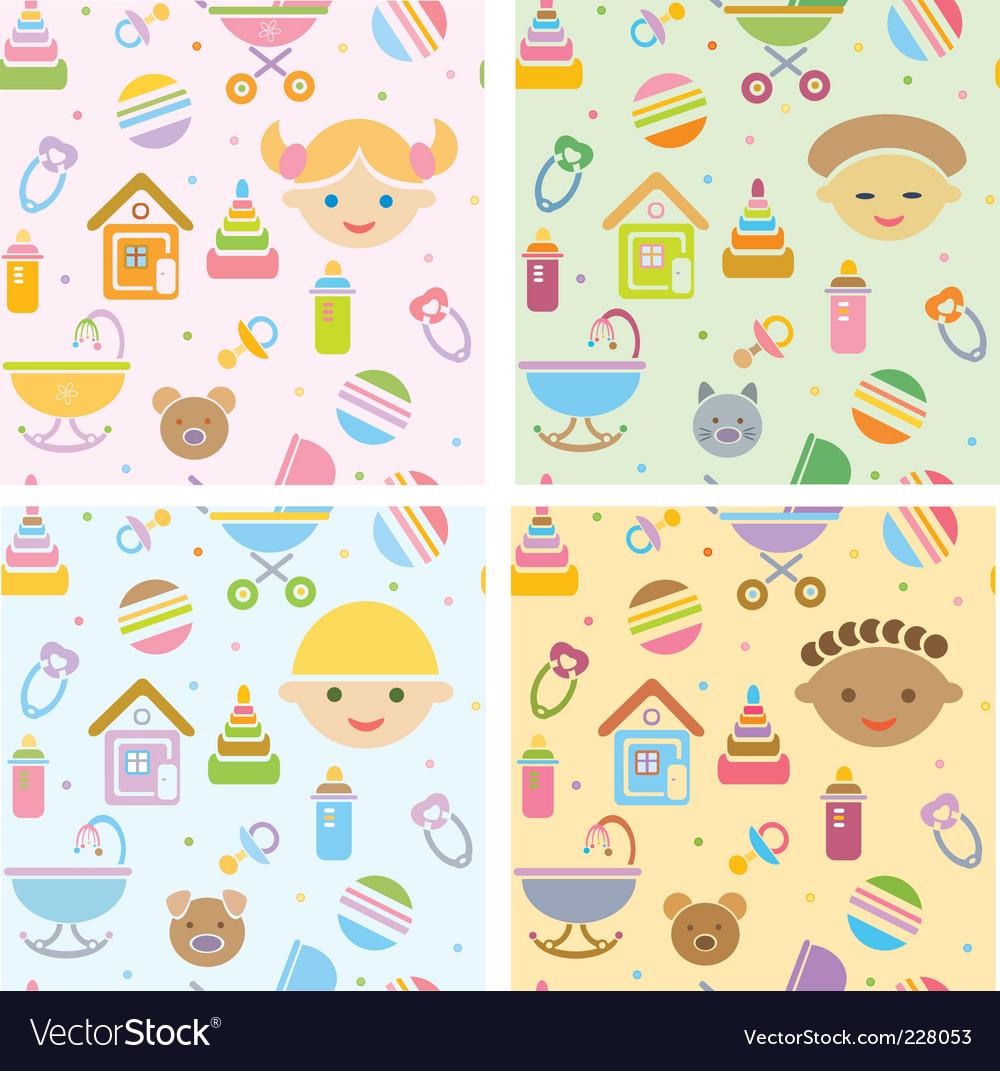 Seamless fun baby patt vector | Price: 1 Credit (USD $1)