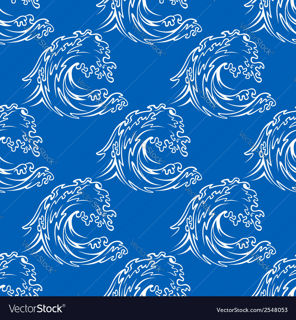 Seamless pattern of a curling waves vector | Price: 1 Credit (USD $1)