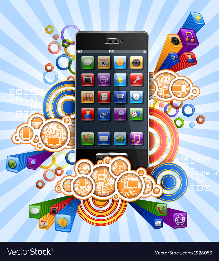 Smartphone with clouds vector | Price: 1 Credit (USD $1)