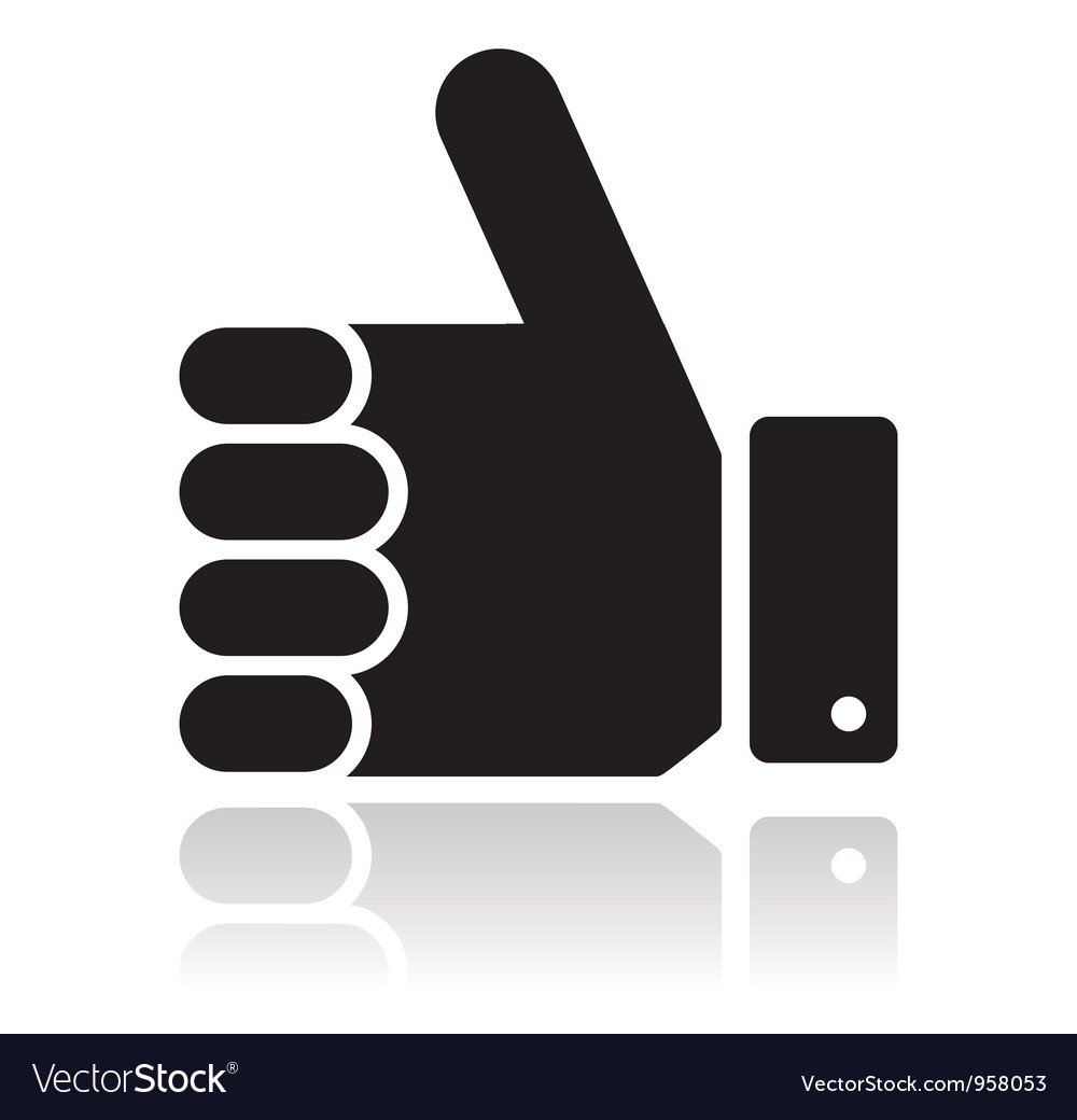 Thumb up black glossy icon vector | Price: 1 Credit (USD $1)