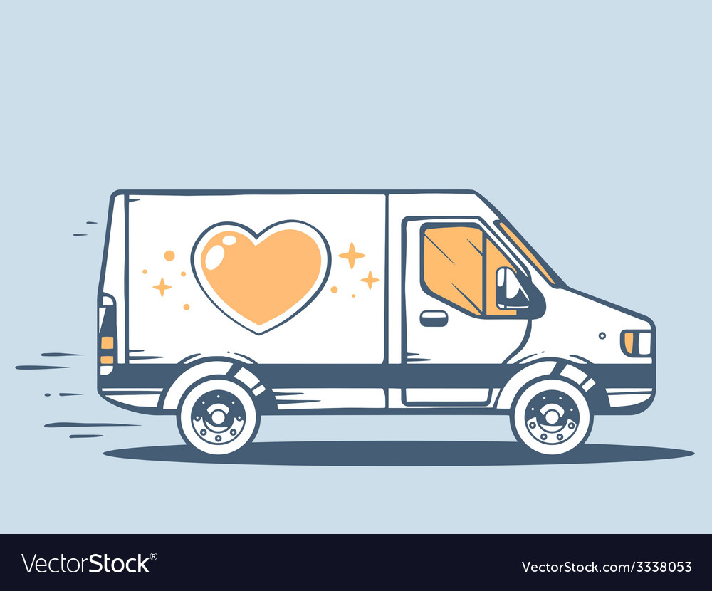 Van free and fast delivering heart to cus vector | Price: 3 Credit (USD $3)