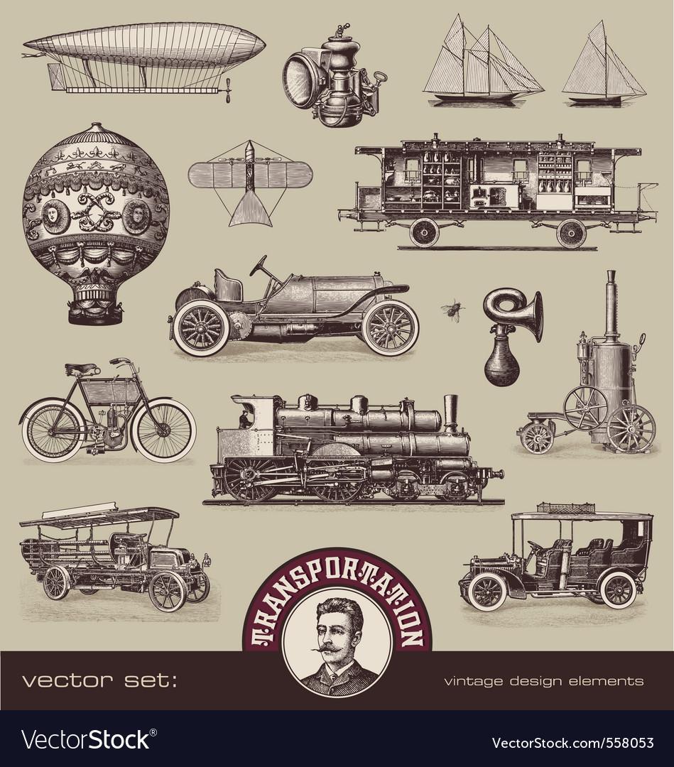 Vintage means of transportation vector | Price: 3 Credit (USD $3)