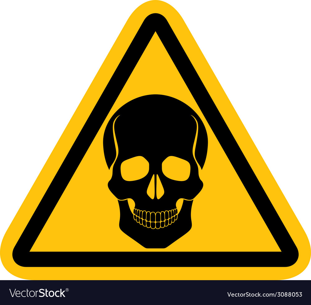 Warning sign with skull vector | Price: 1 Credit (USD $1)