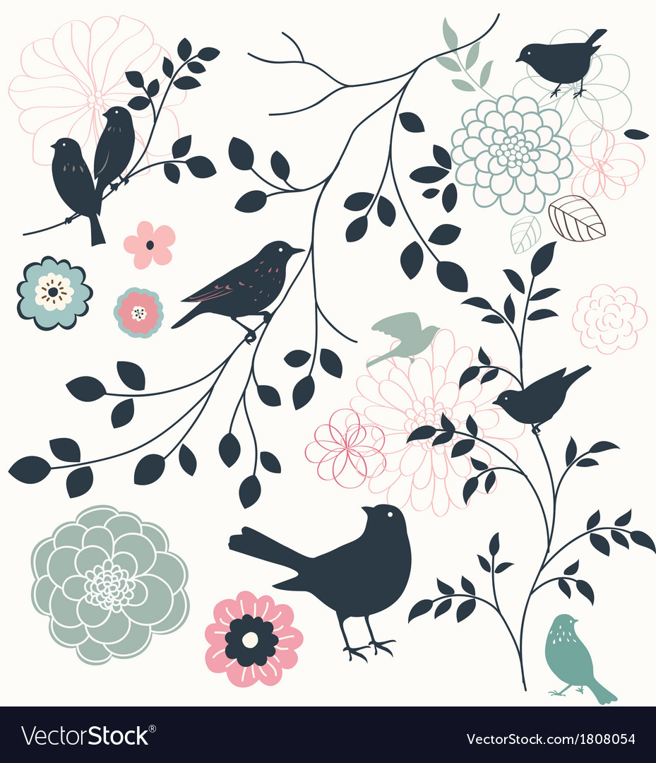 Bird and flower vector | Price: 1 Credit (USD $1)