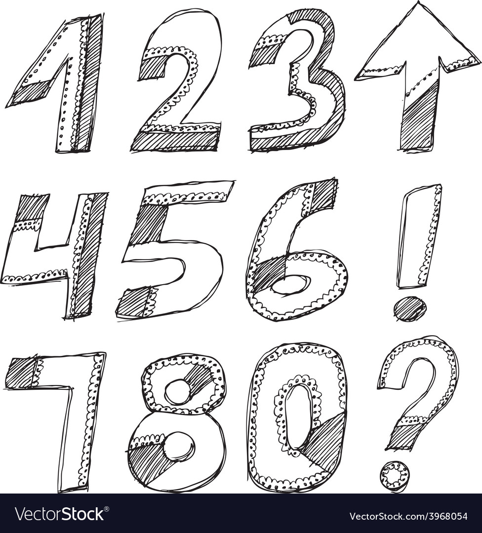 Black numbers on a white background sketch set vector | Price: 1 Credit (USD $1)
