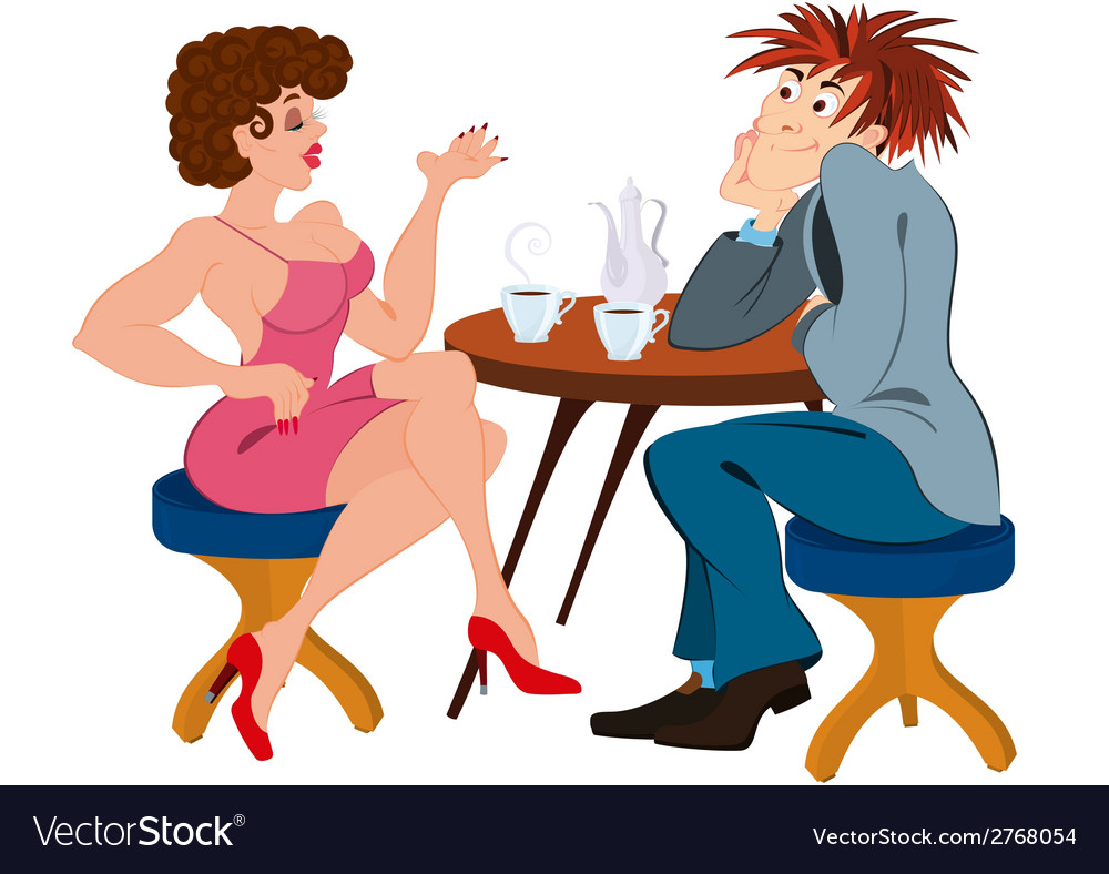 Cartoon couple sitting near the table and drinking vector | Price: 1 Credit (USD $1)